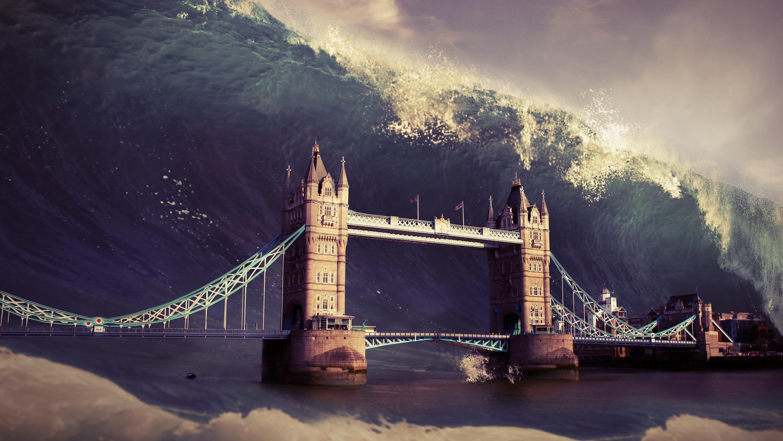 Волна лондонский Тауэрский мост обои скачать