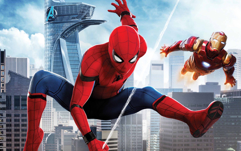 Человек паук возвращение на родину железный человек обои скачать