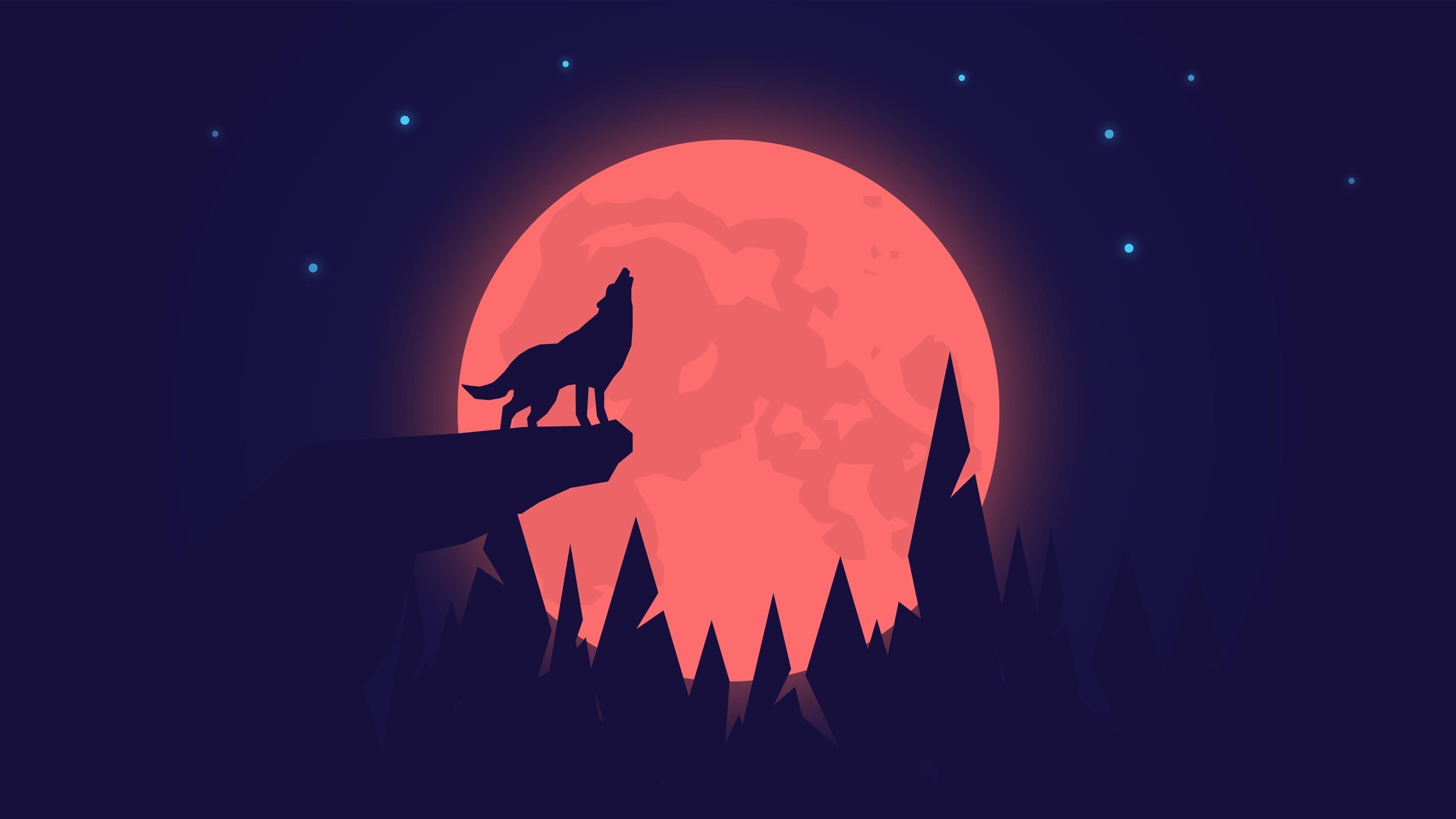 Воющий волк ночь луна обои скачать