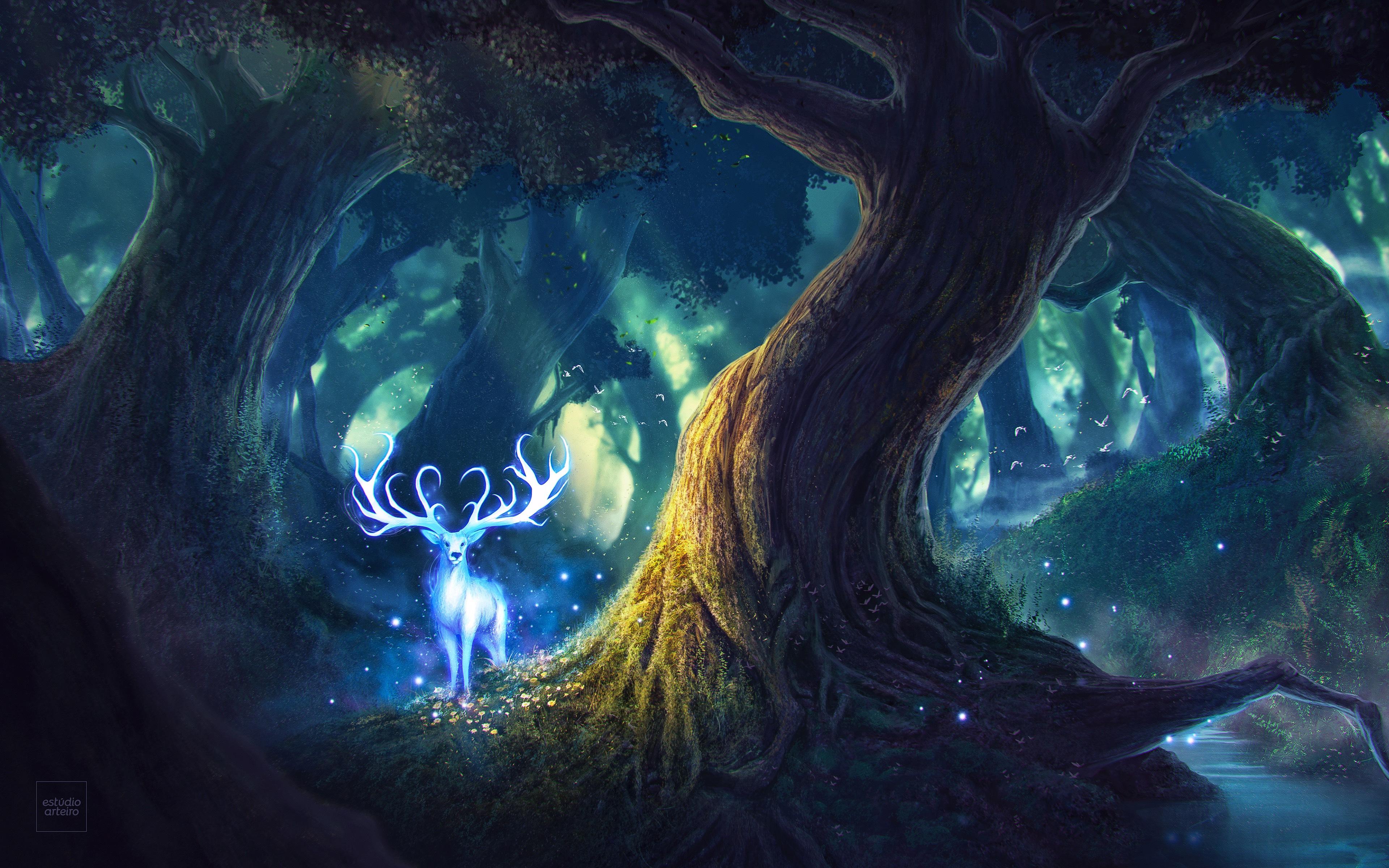 Сказочный олень обои скачать
