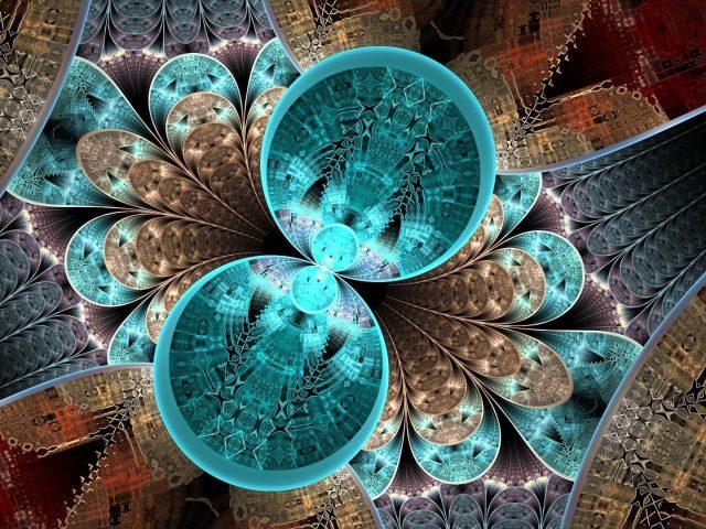 Сине-коричневые блики формируют фрактальный художественный узор абстракция абстракция