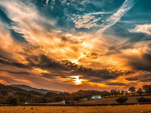 Закат небо облака поле деревья горизонт