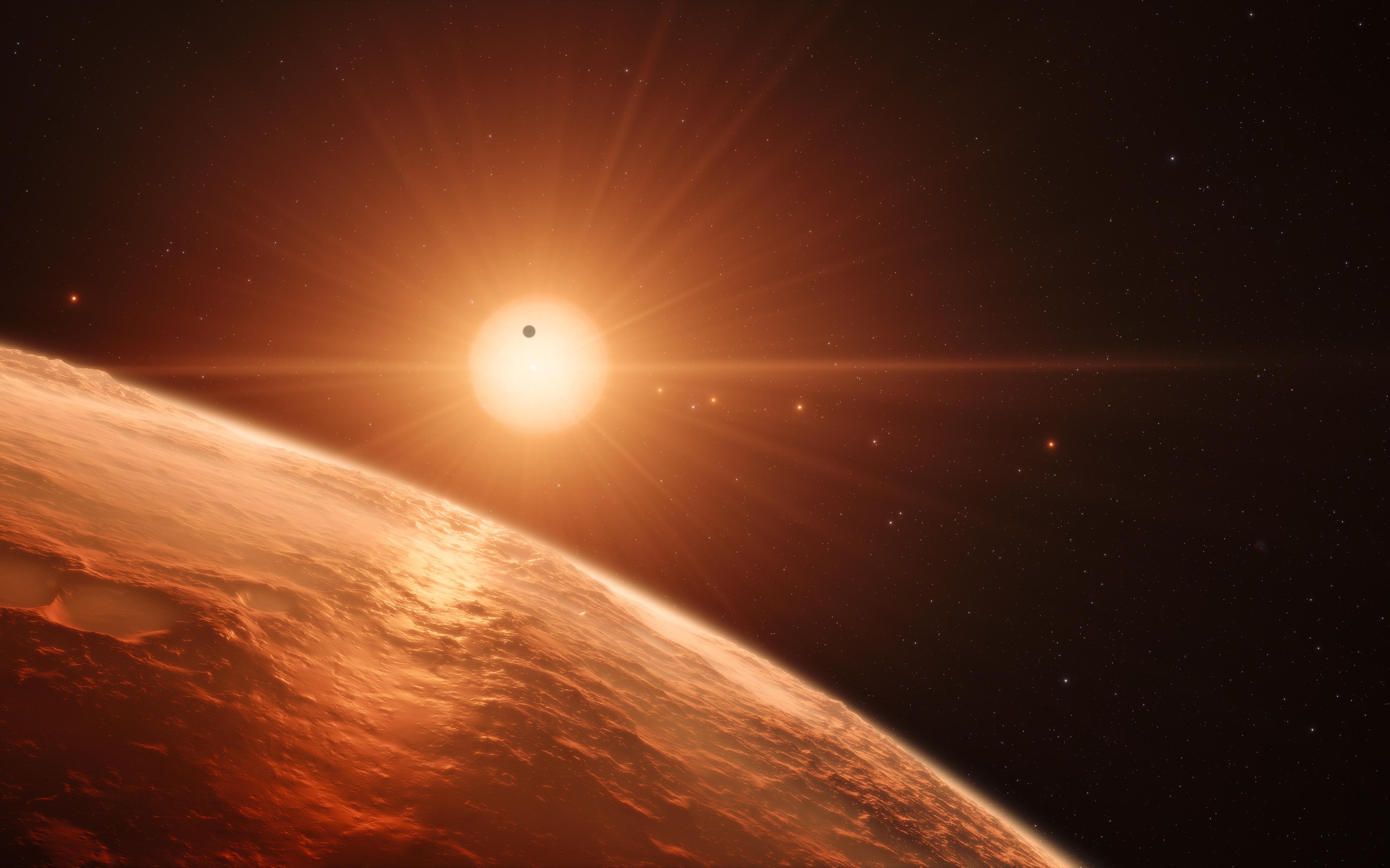 Траппист 1 планета 8к. обои скачать