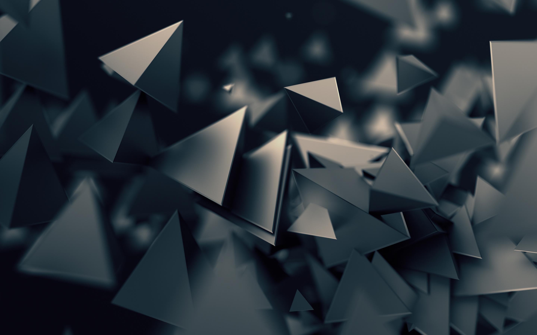 3D треугольники темно обои скачать
