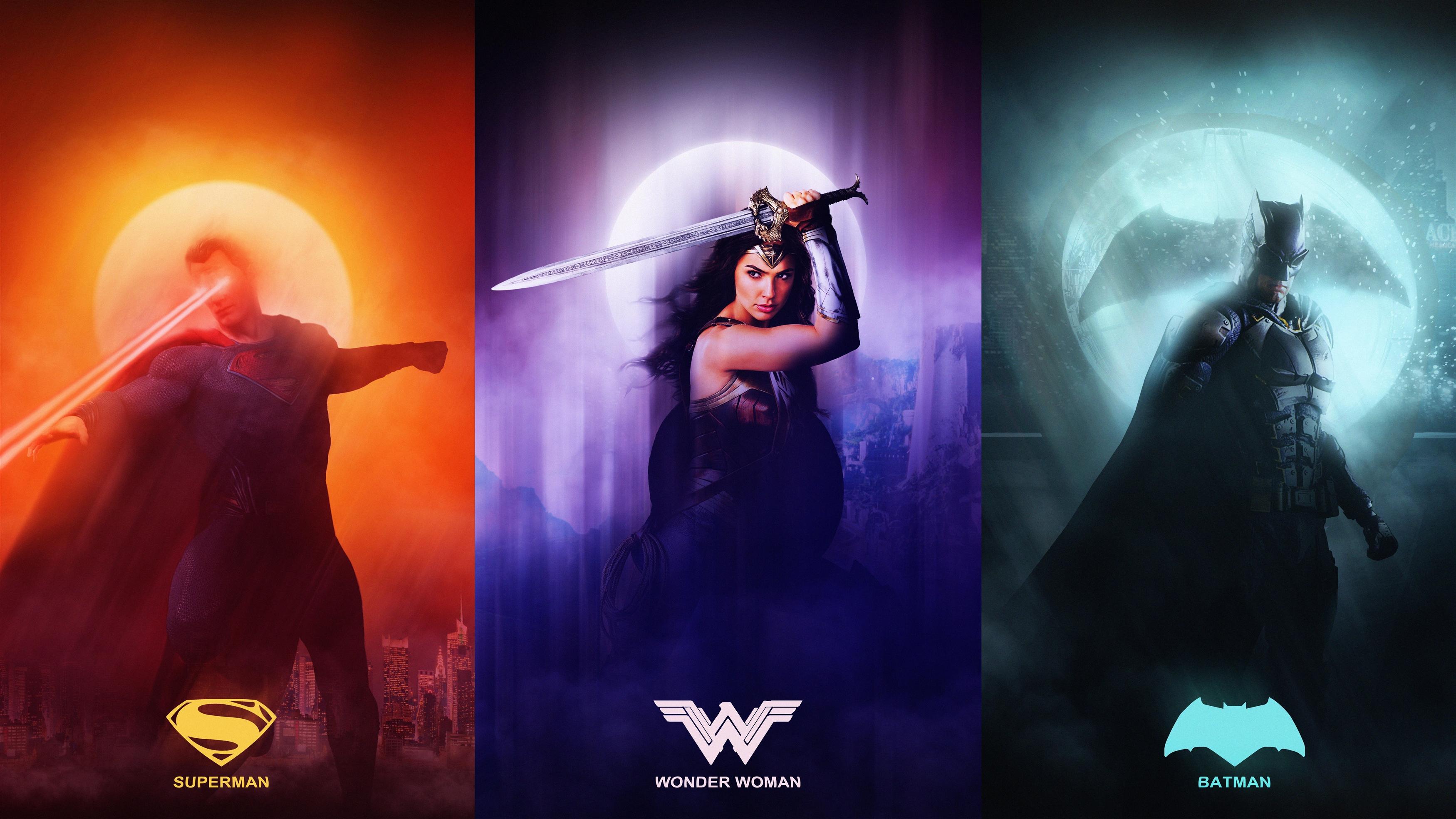 Лига справедливости супермен чудо женщина Бэтмен обои скачать