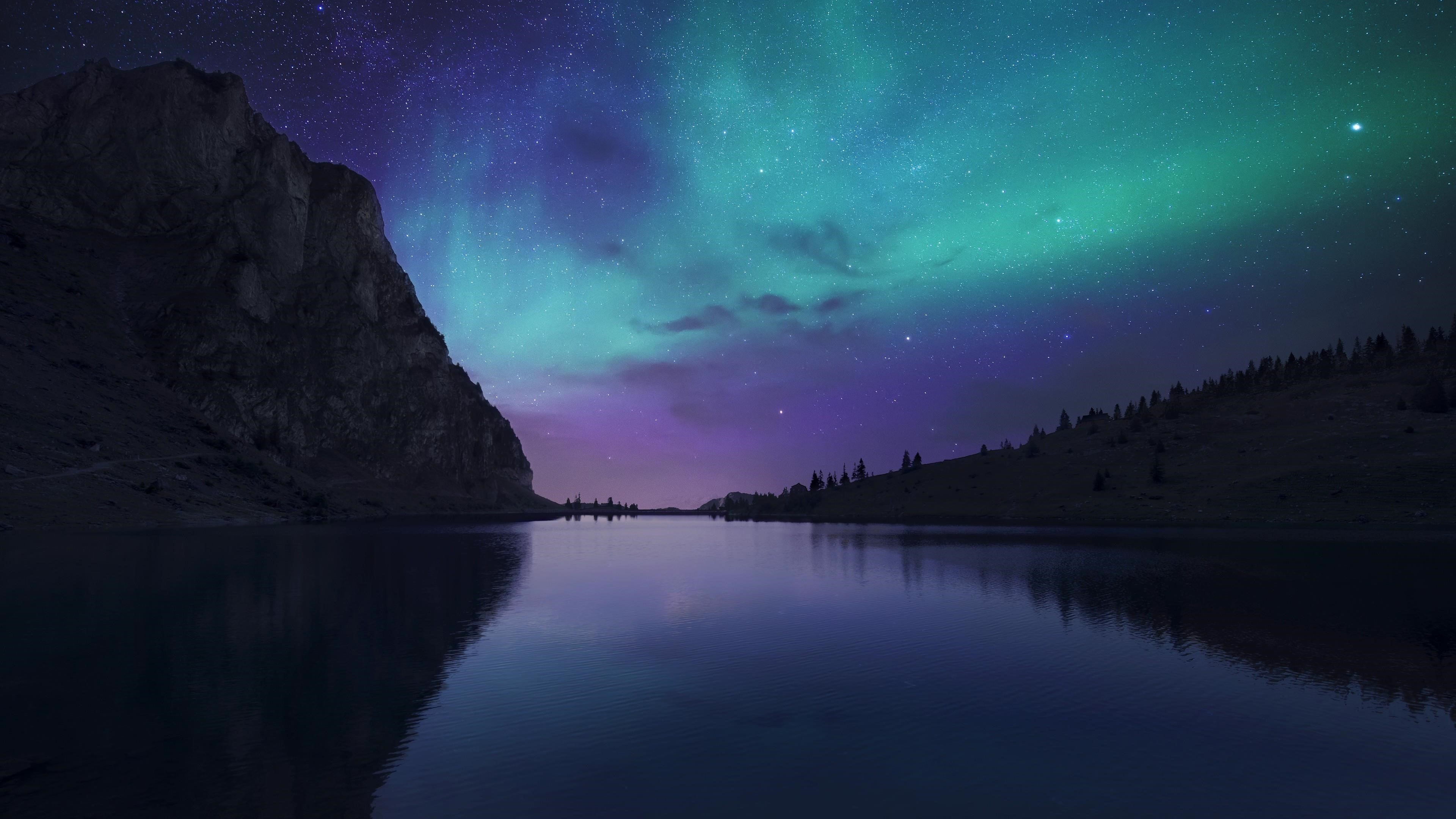 Озеро голубое спокойное отражение воды северное сияние обои скачать