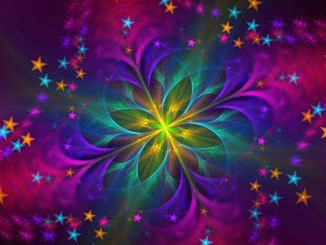 Красочный фрактальный цветок абстракция