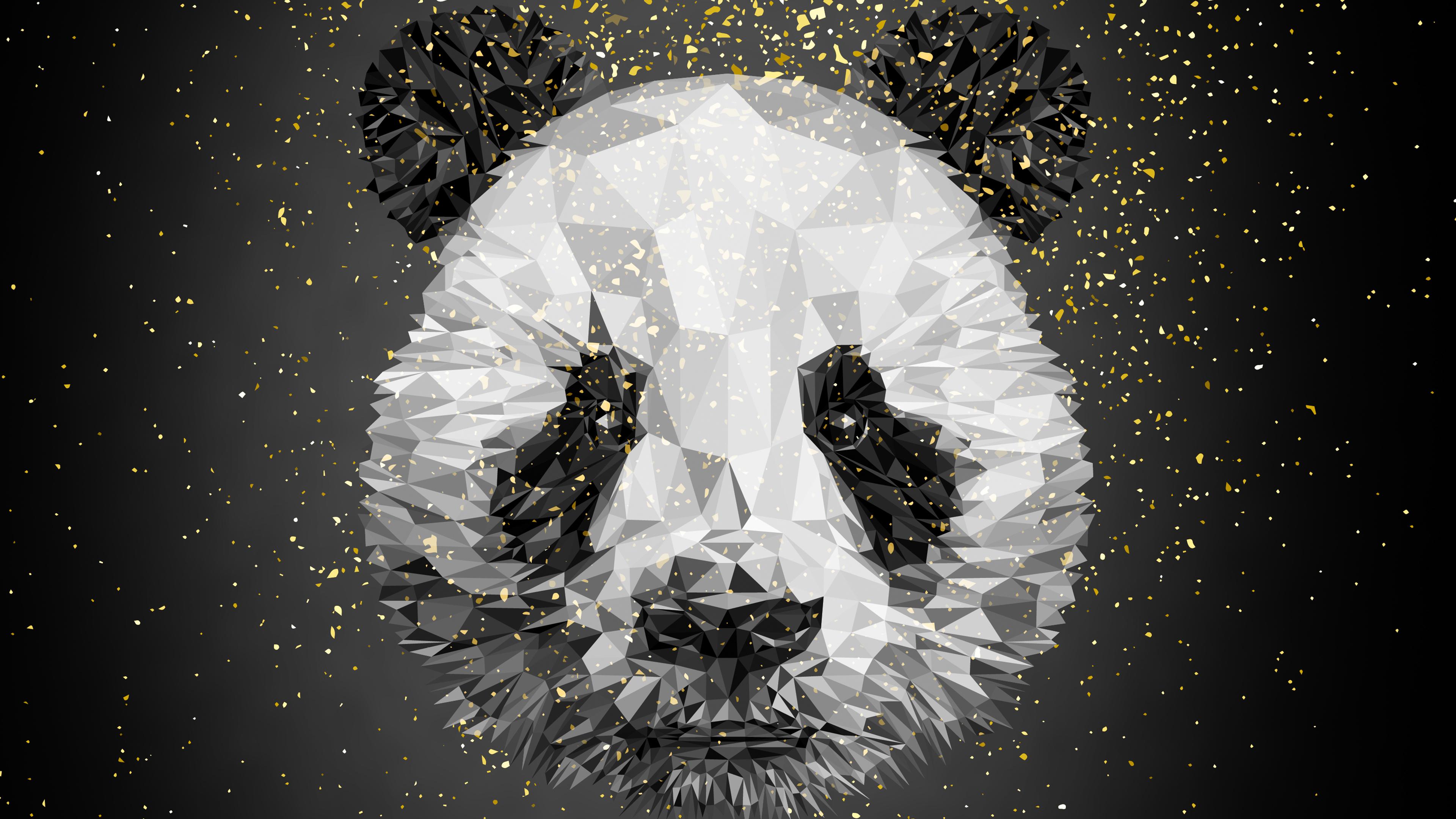 Панда лоуполи арт обои скачать