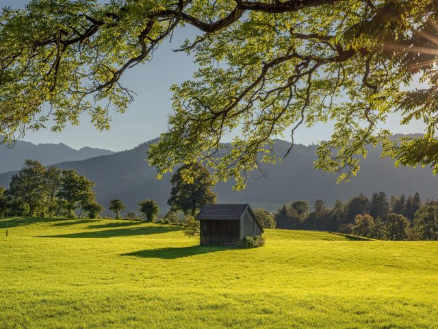 Хижина посреди зеленого травяного поля и пейзаж горы с солнечным лучом природы