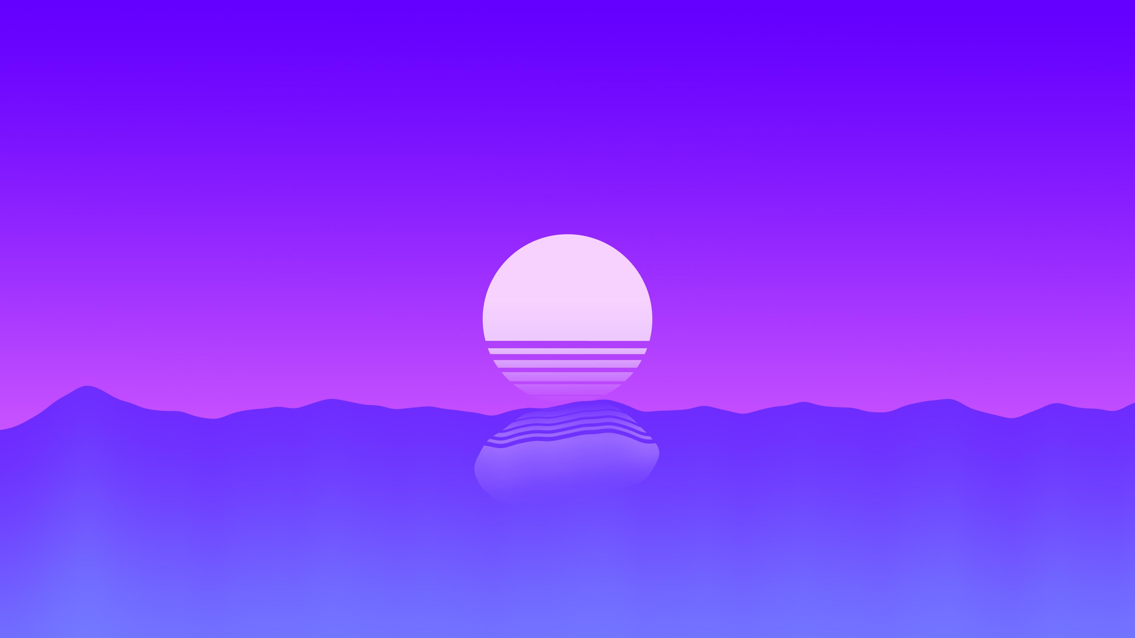 Фиолетовый закат минимальный обои скачать