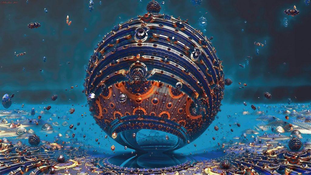 Синий оранжевый фрактальная сфера круг шары абстрактные обои скачать