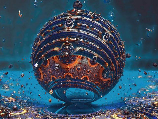Синий оранжевый фрактальная сфера круг шары абстрактные