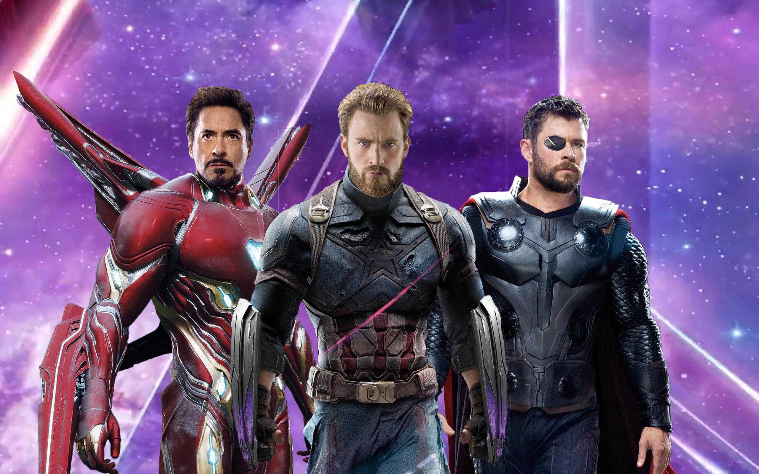 Железный человек Капитан Америка ТОР в Мстители бесконечности войны обои скачать