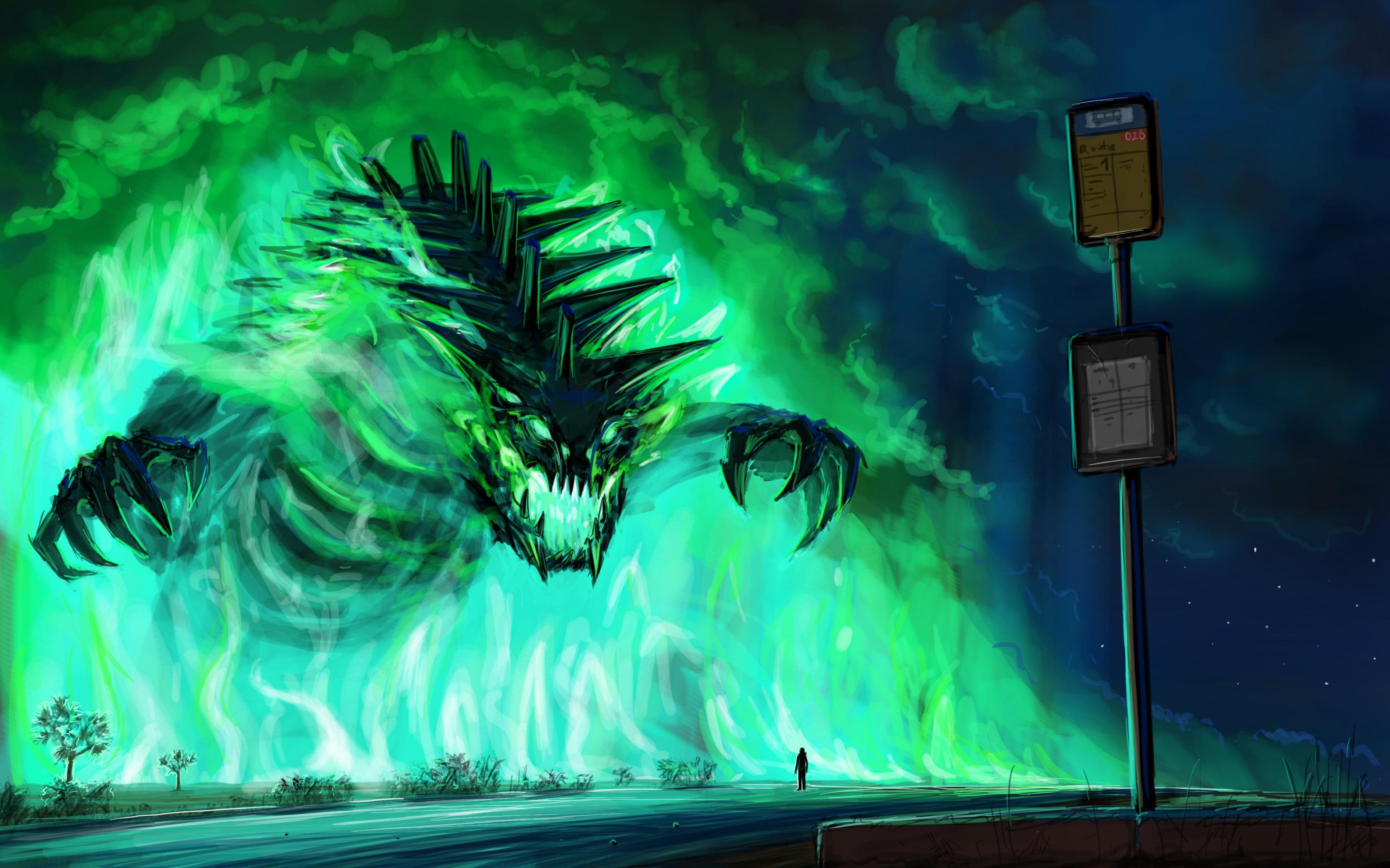 Зеленый монстр. обои скачать