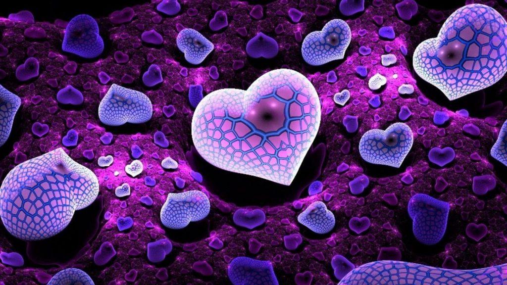 Размытие фиолетовых сердец фрактальное искусство абстрактное обои скачать