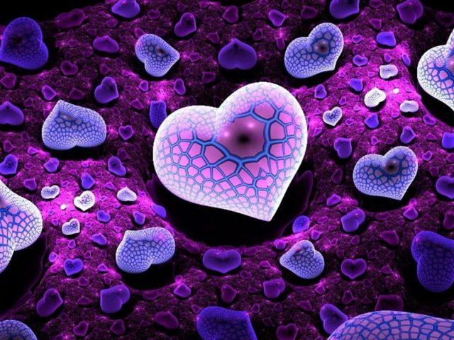 Размытие фиолетовых сердец фрактальное искусство абстрактное