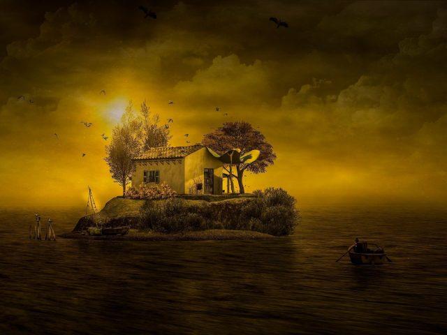 Фантастический остров между берегом моря во время заката природа
