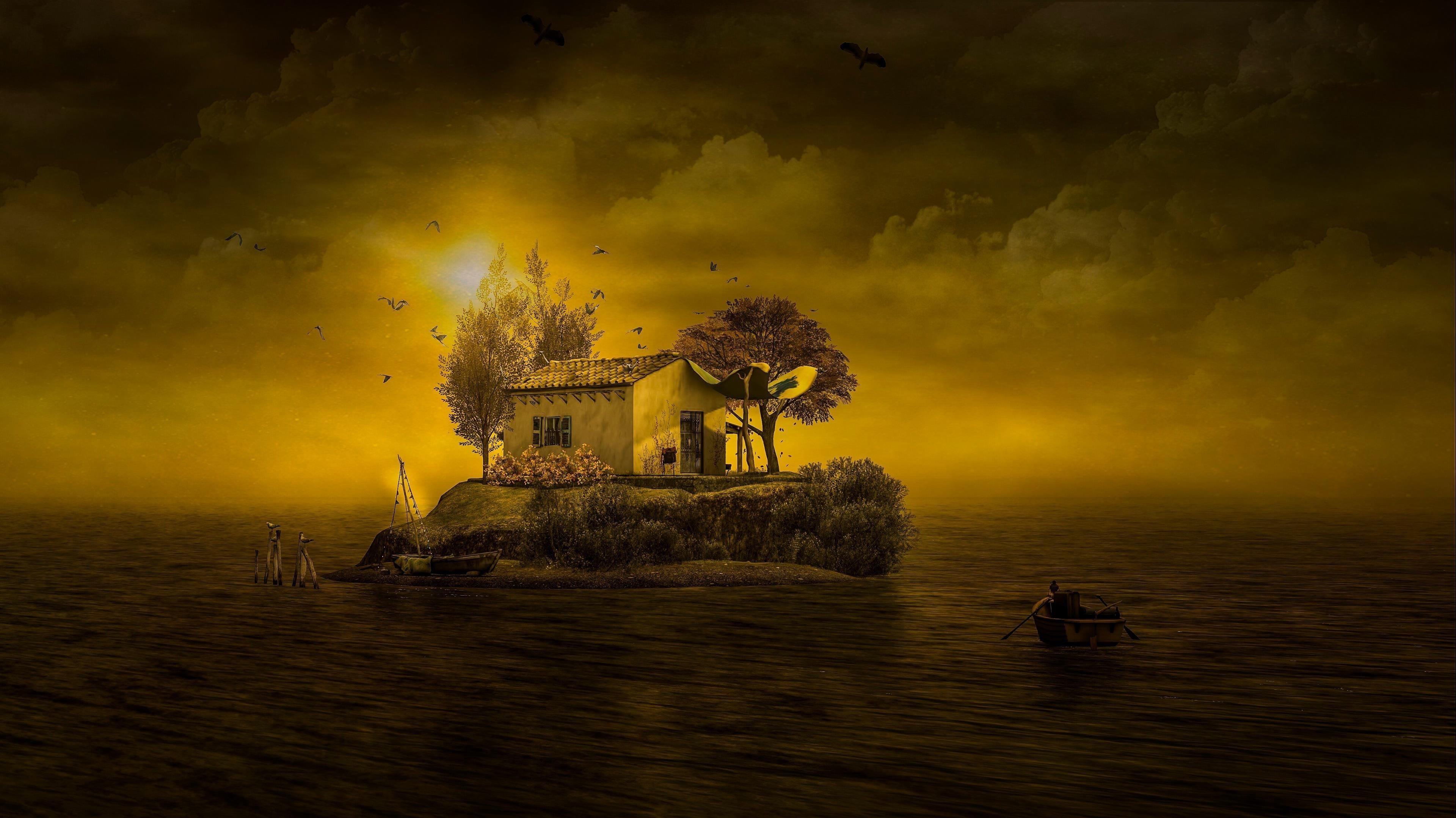 Фантастический остров между берегом моря во время заката природа обои скачать