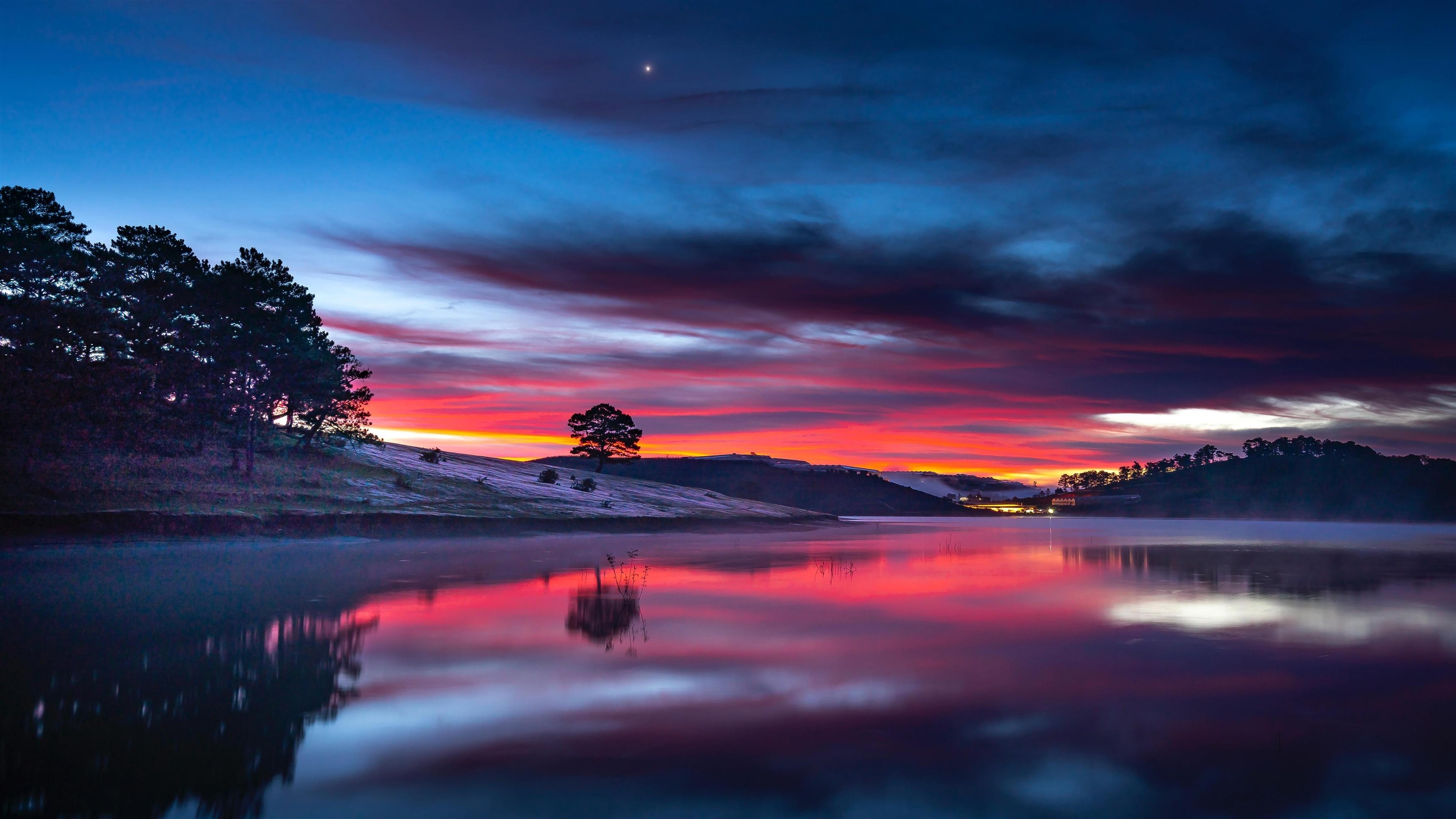 Закат озеро пейзаж обои скачать