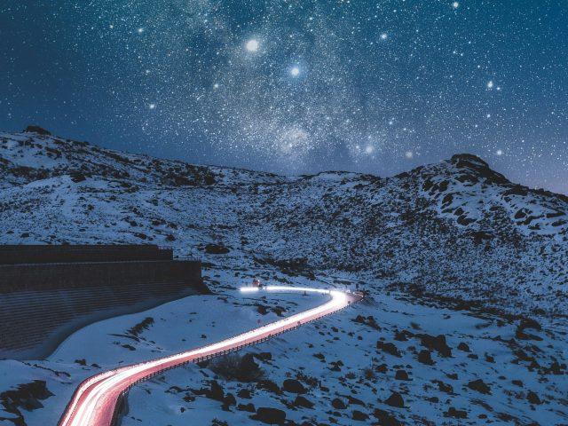Дорога горы звезды небо