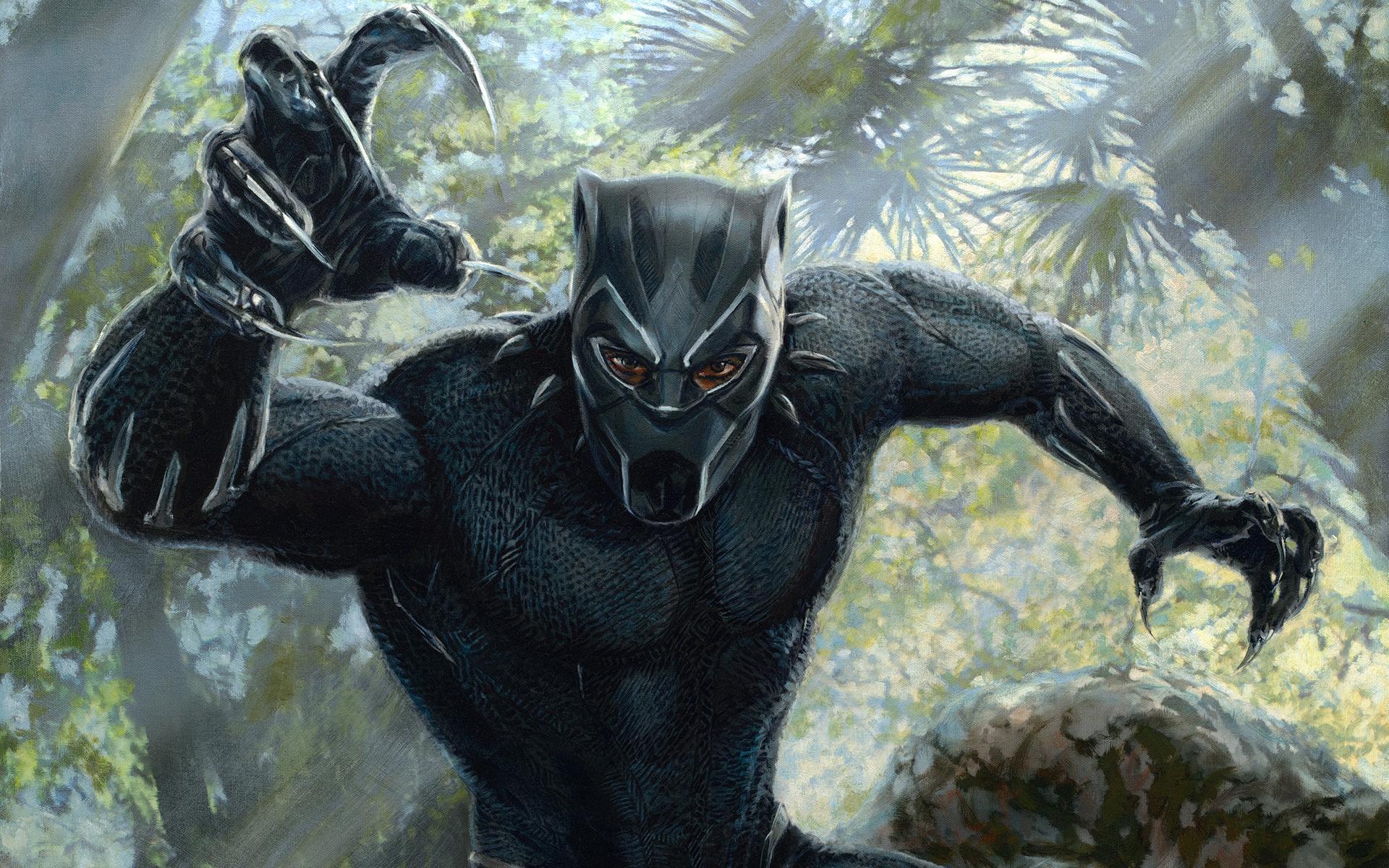Художественное произведение черной пантеры обои скачать