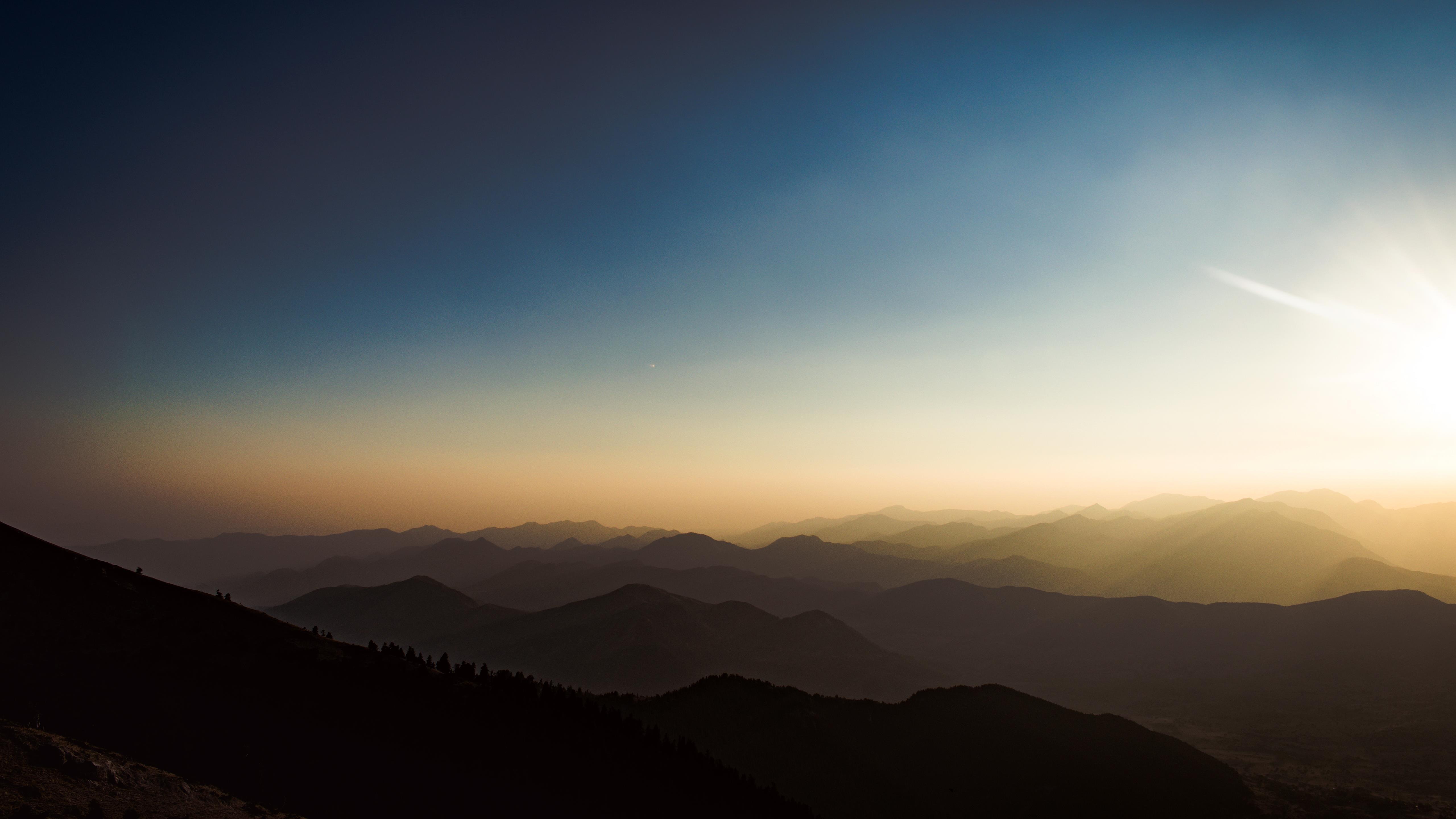 Закат в горах обои скачать
