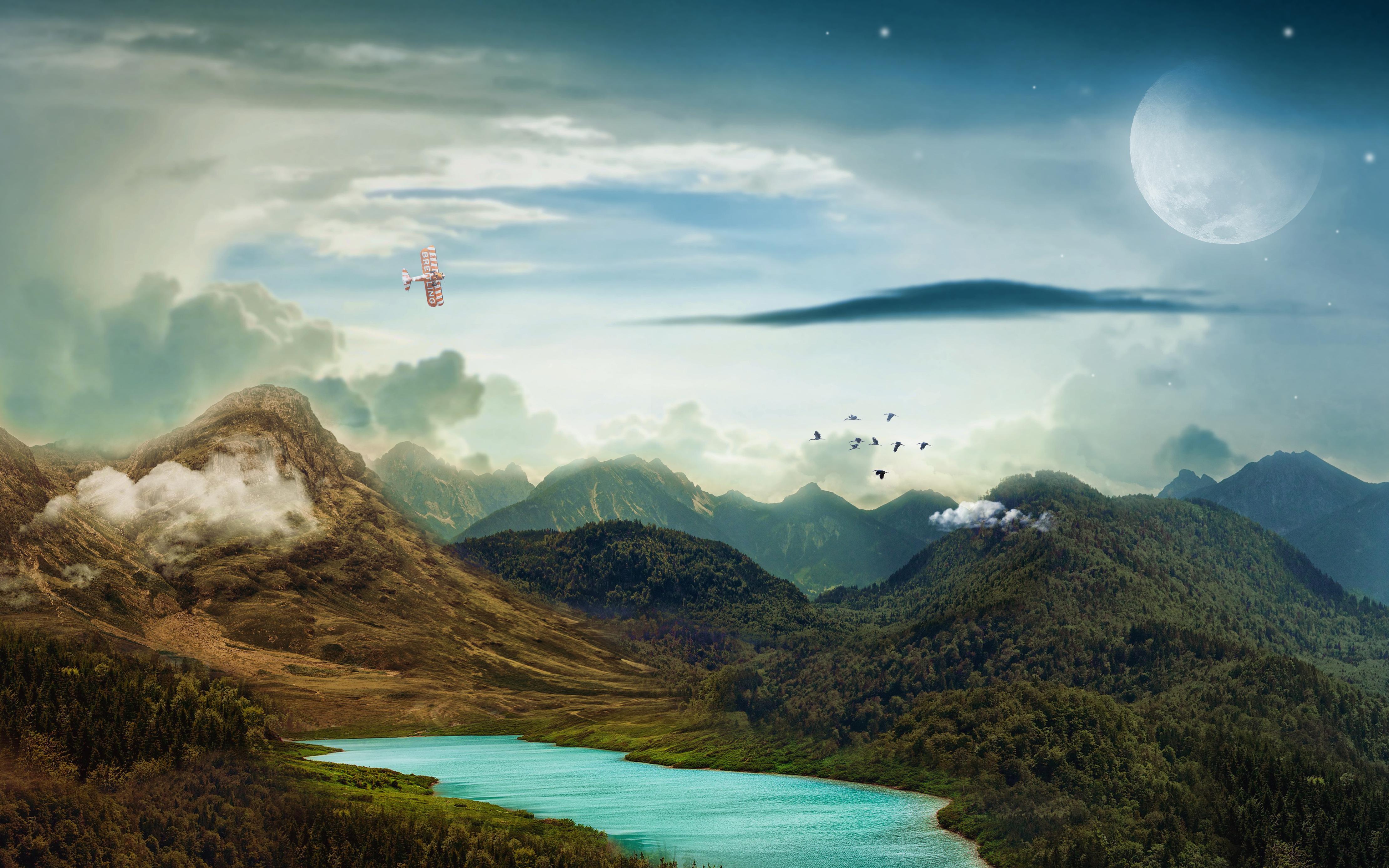 Горы пейзаж луна обои скачать