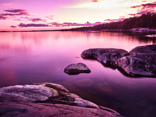 Фиолетовый закат пейзаж