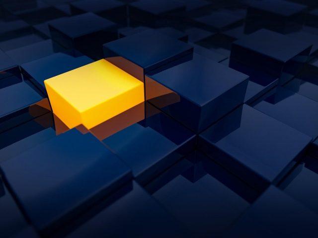 Синий желтый 3D цифровое искусство абстрактный куб