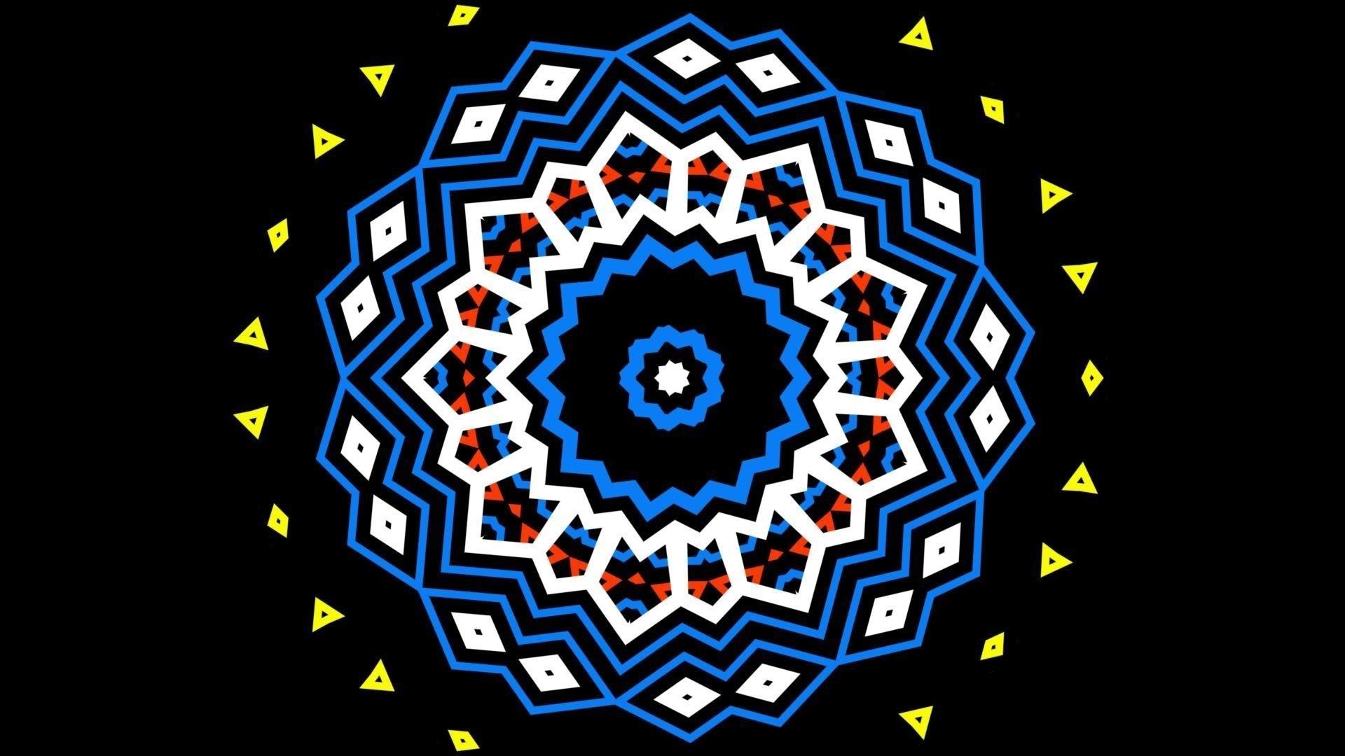 Желтый синий оранжевый черный геометрические фигуры абстрактные обои скачать