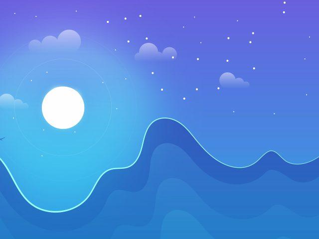 Зимний лунный пейзаж