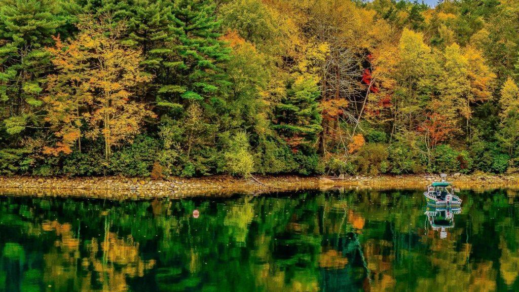 Моторная лодка на воде с отражением красочных осенних лиственных деревьев на речной природе обои скачать