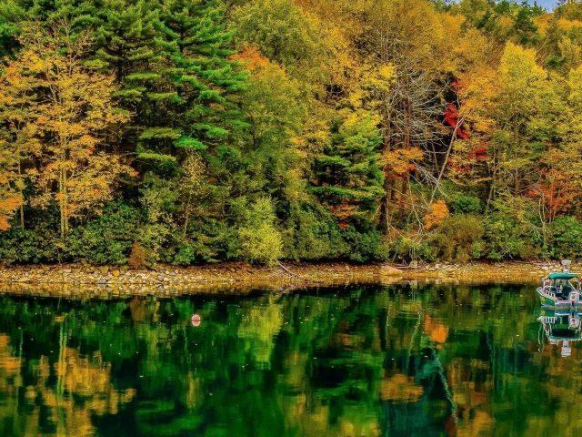 Моторная лодка на воде с отражением красочных осенних лиственных деревьев на речной природе