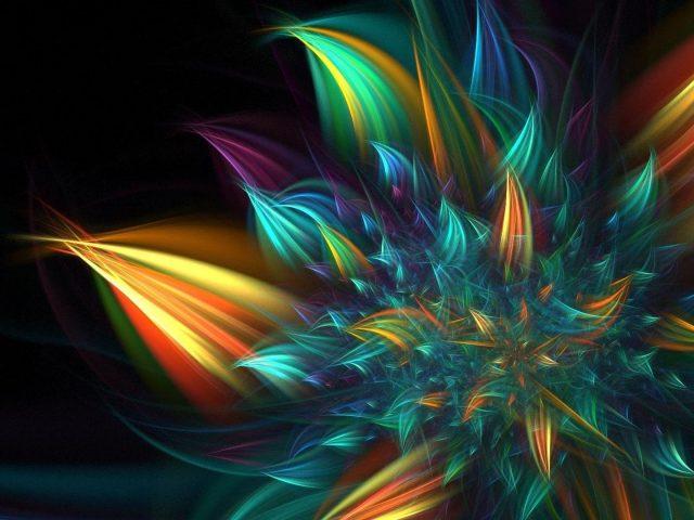 Многоцветный фрактальный цветок абстракция