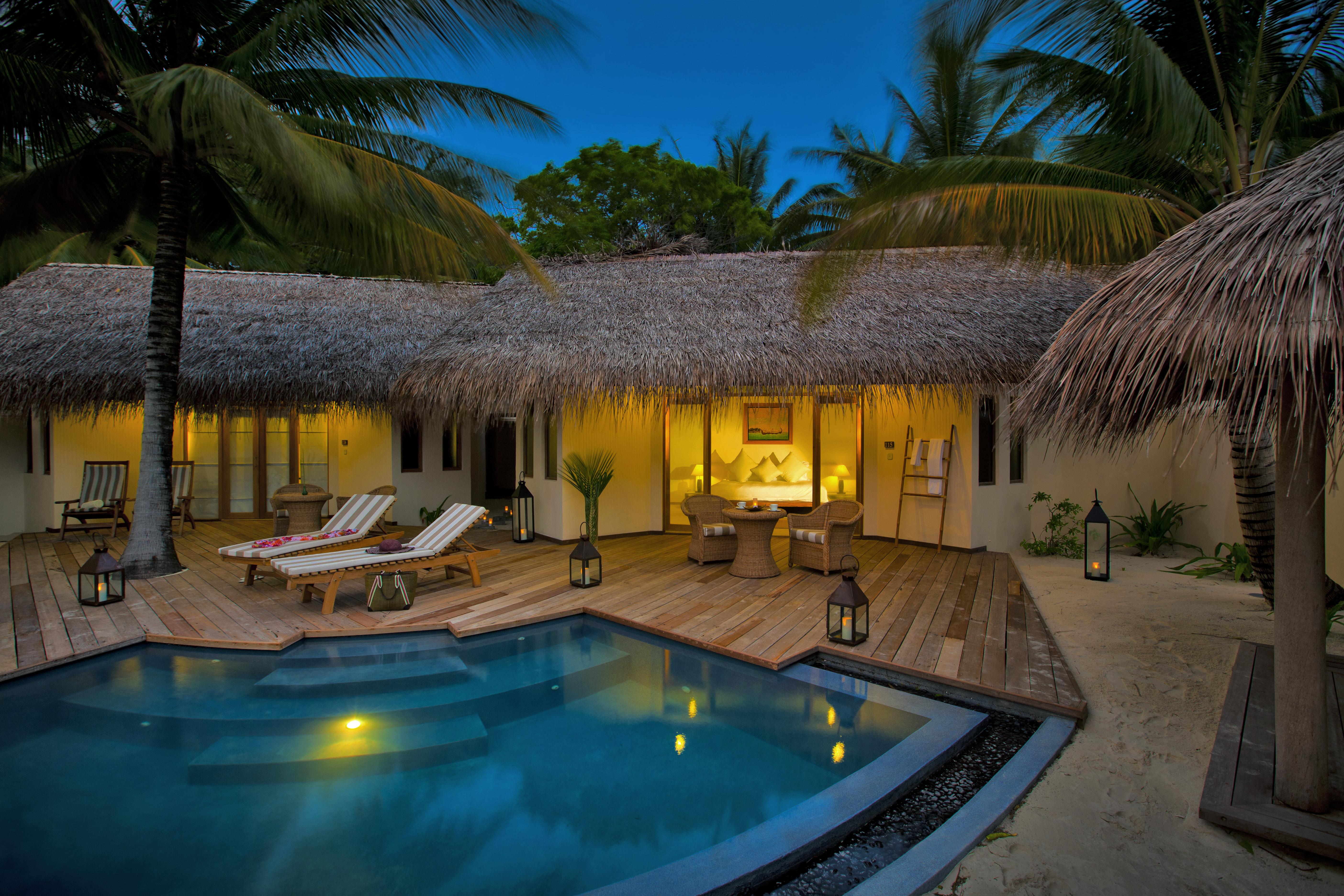 Бассейн, отель, Мальдивы, экстерьер обои скачать