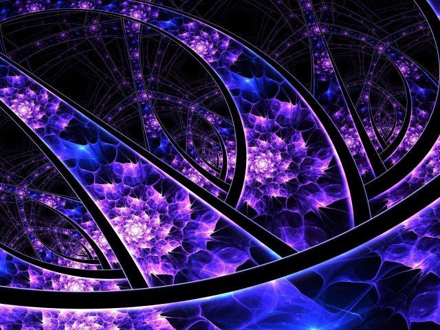 Фиолетовый черный блестящий фрактальное искусство аннотация