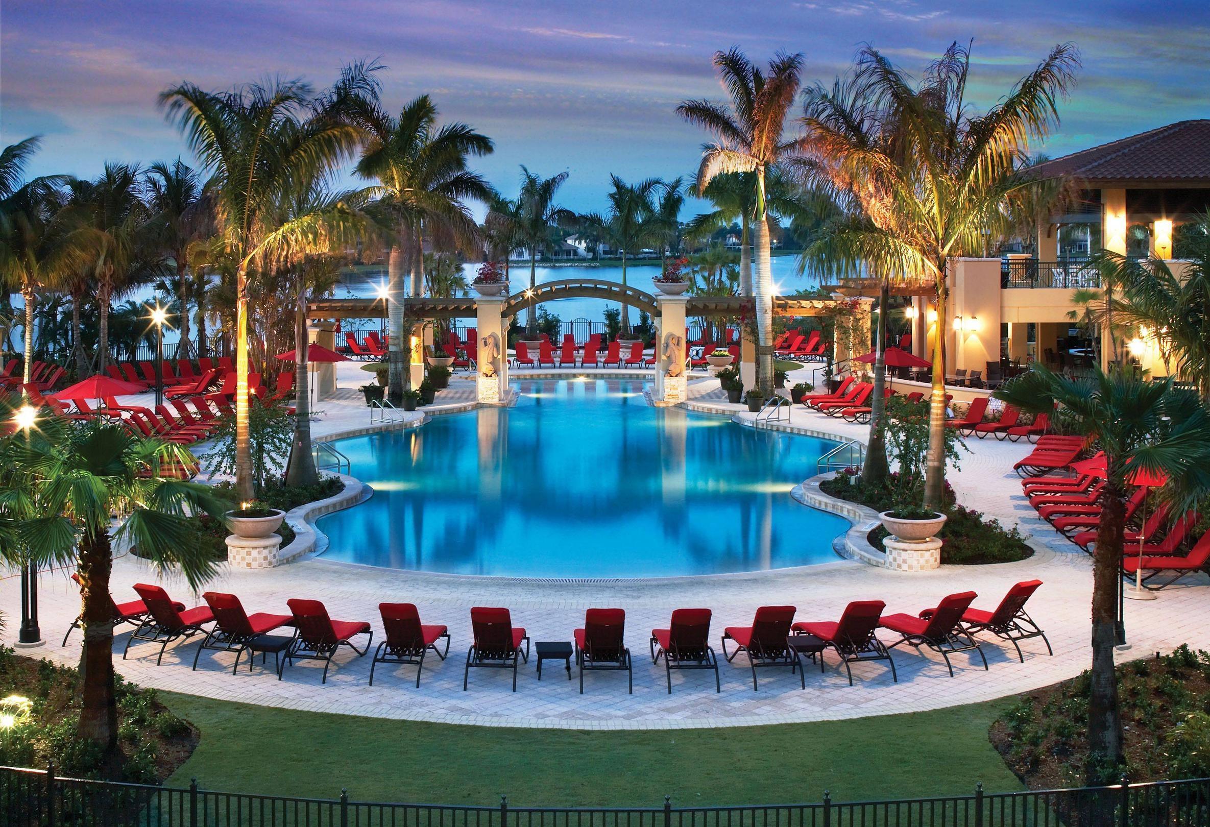 Pool, бассейн, пальмы, лежаки обои скачать