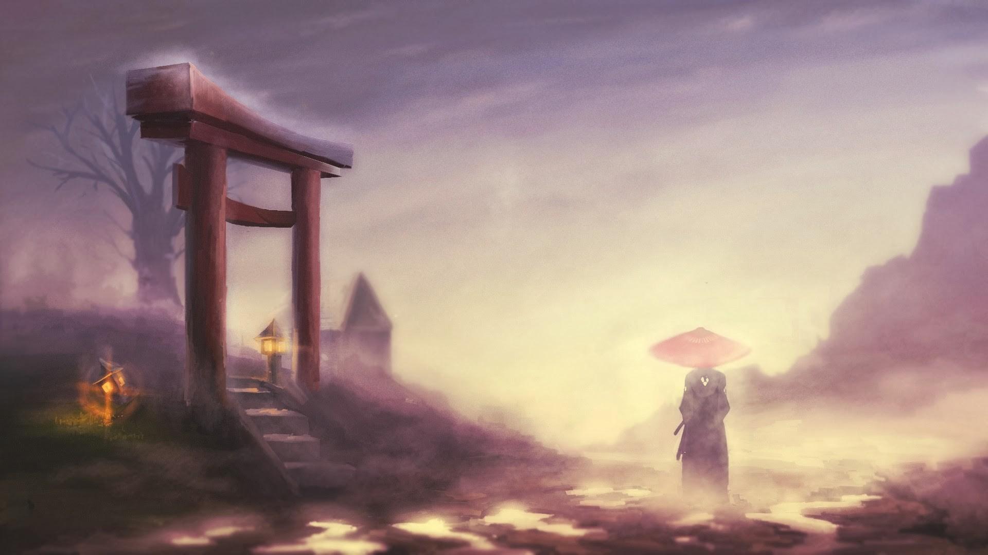 Samurai champloo, jin, туман, пейзаж обои скачать