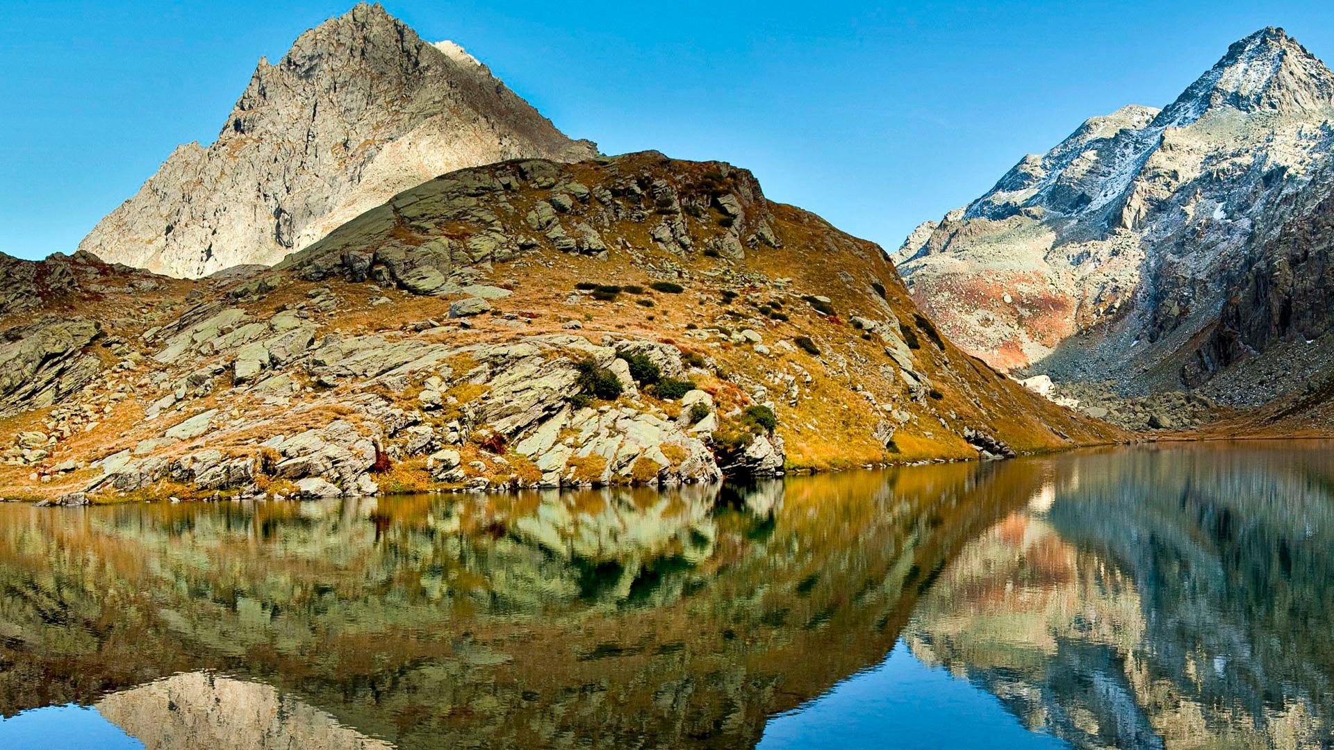 Lago lungo piedmont torre pellice italy. обои скачать