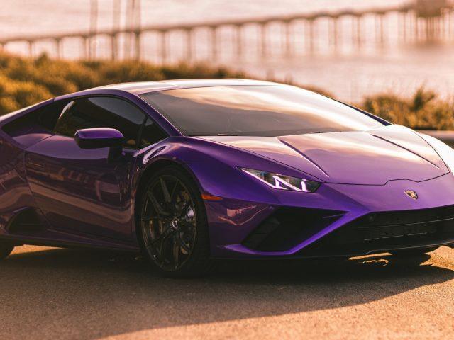 Фиолетовый lamborghini huracan evo 3 автомобиля