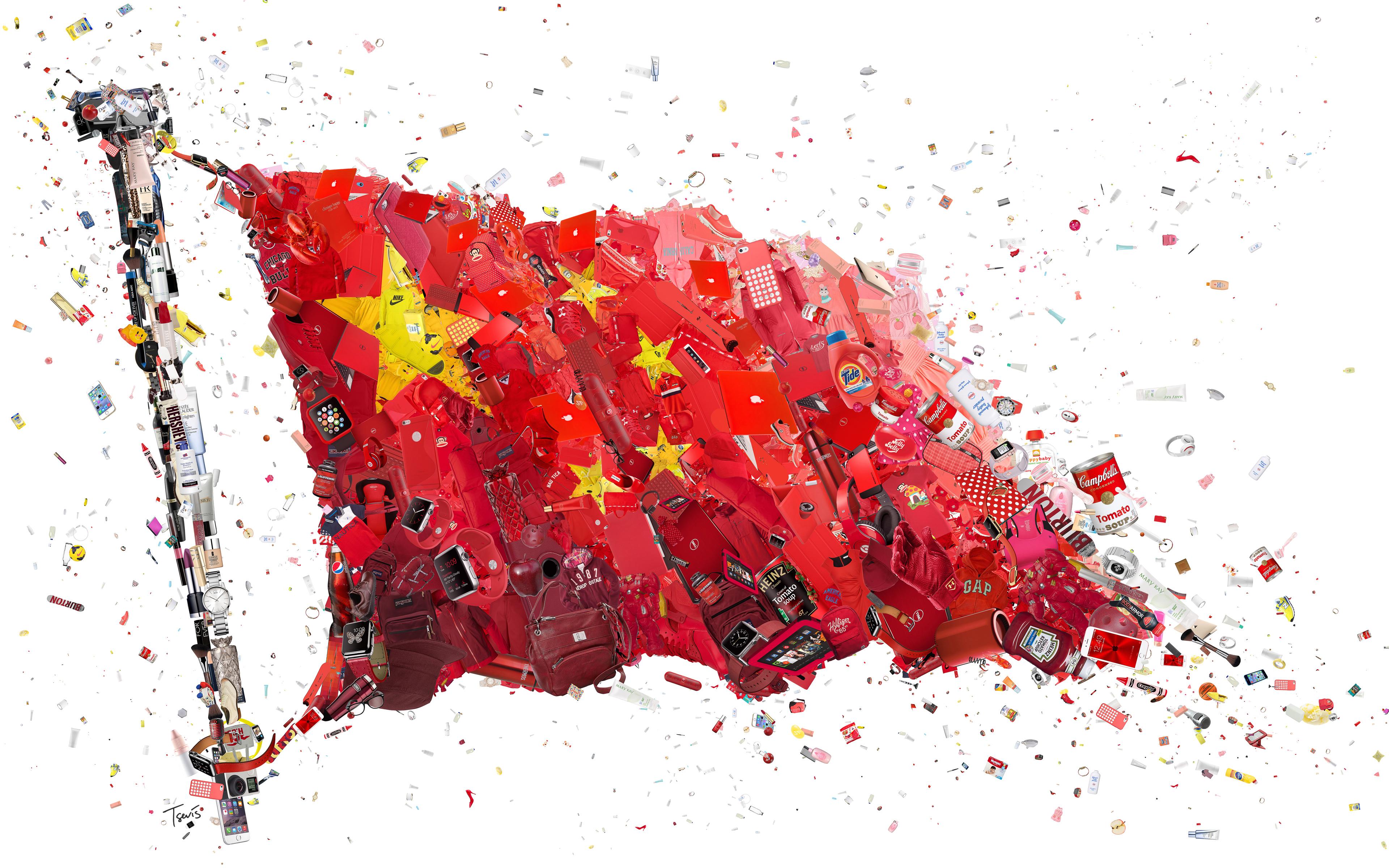 Китайский флаг алибаба 8к. обои скачать