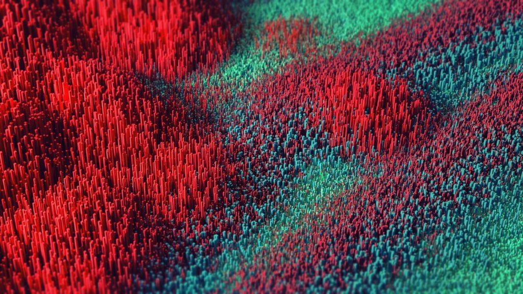 Красные зеленые иглы абстрактные обои скачать