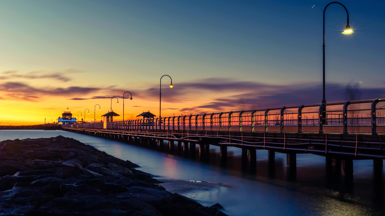 Wooden dock sunset обои скачать