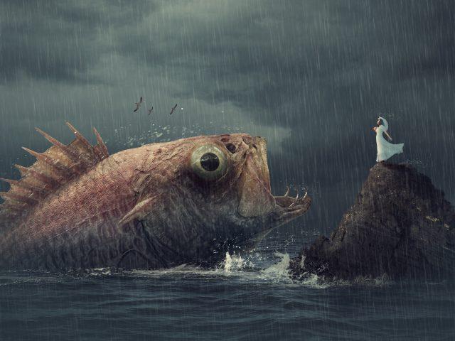 Женщина рыба дождь