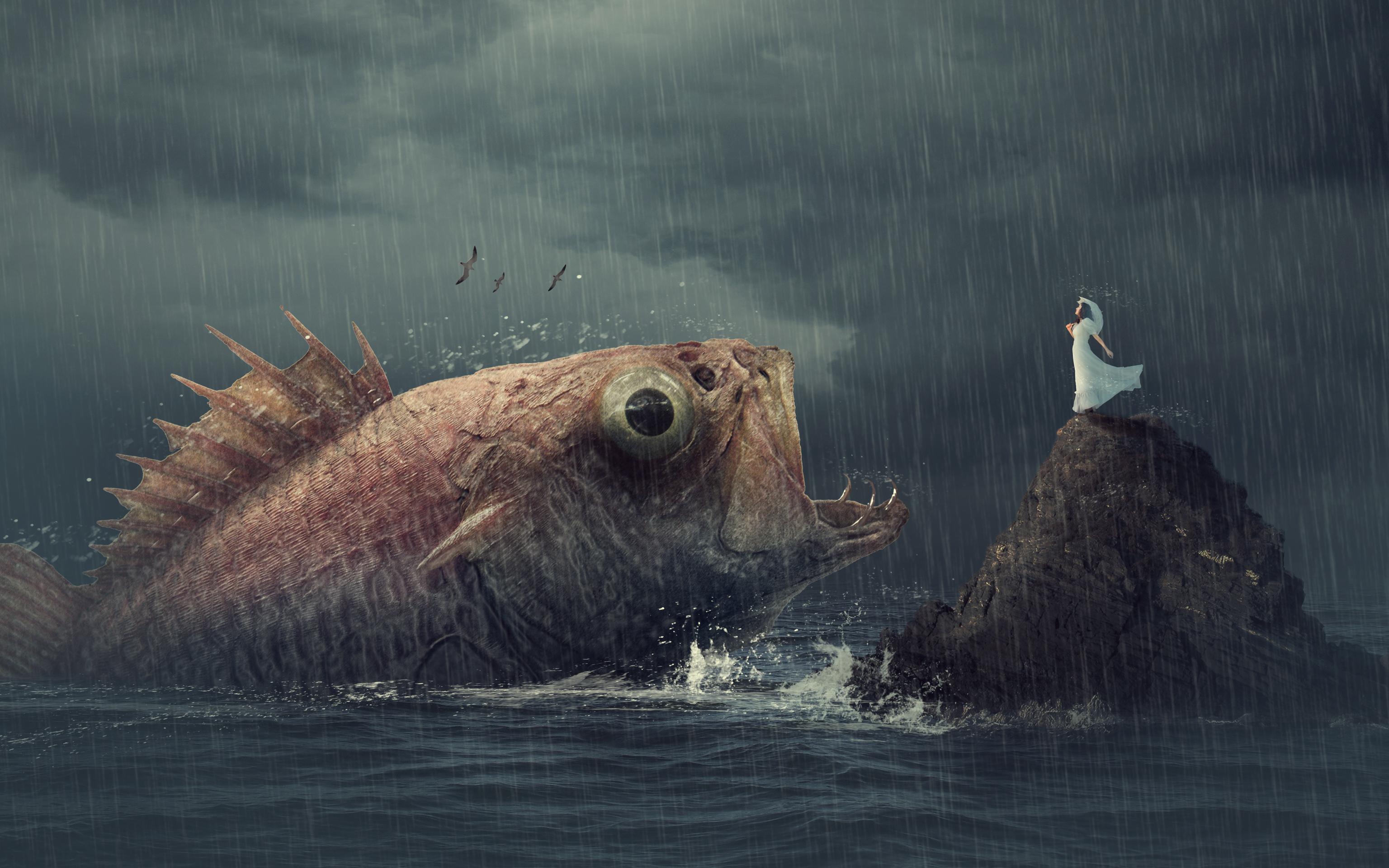Женщина рыба дождь обои скачать