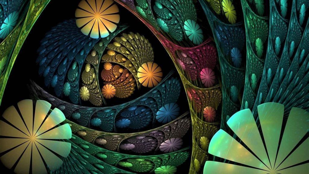 Красочные цветы фрактальные формы бесконечная абстракция обои скачать