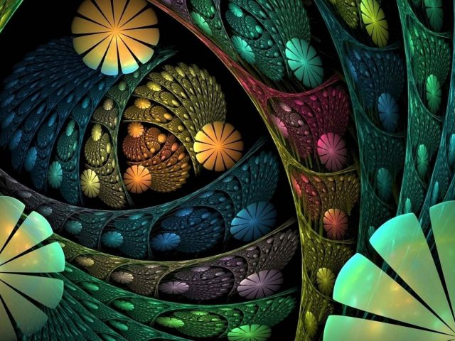 Красочные цветы фрактальные формы бесконечная абстракция