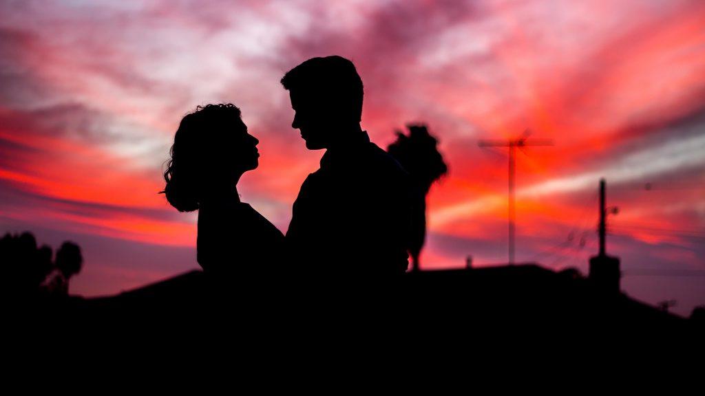 Пара Вечерний силуэт обои скачать
