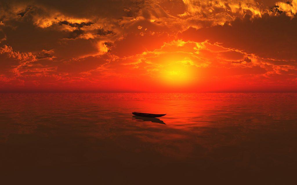 Одна лодка в море. обои скачать