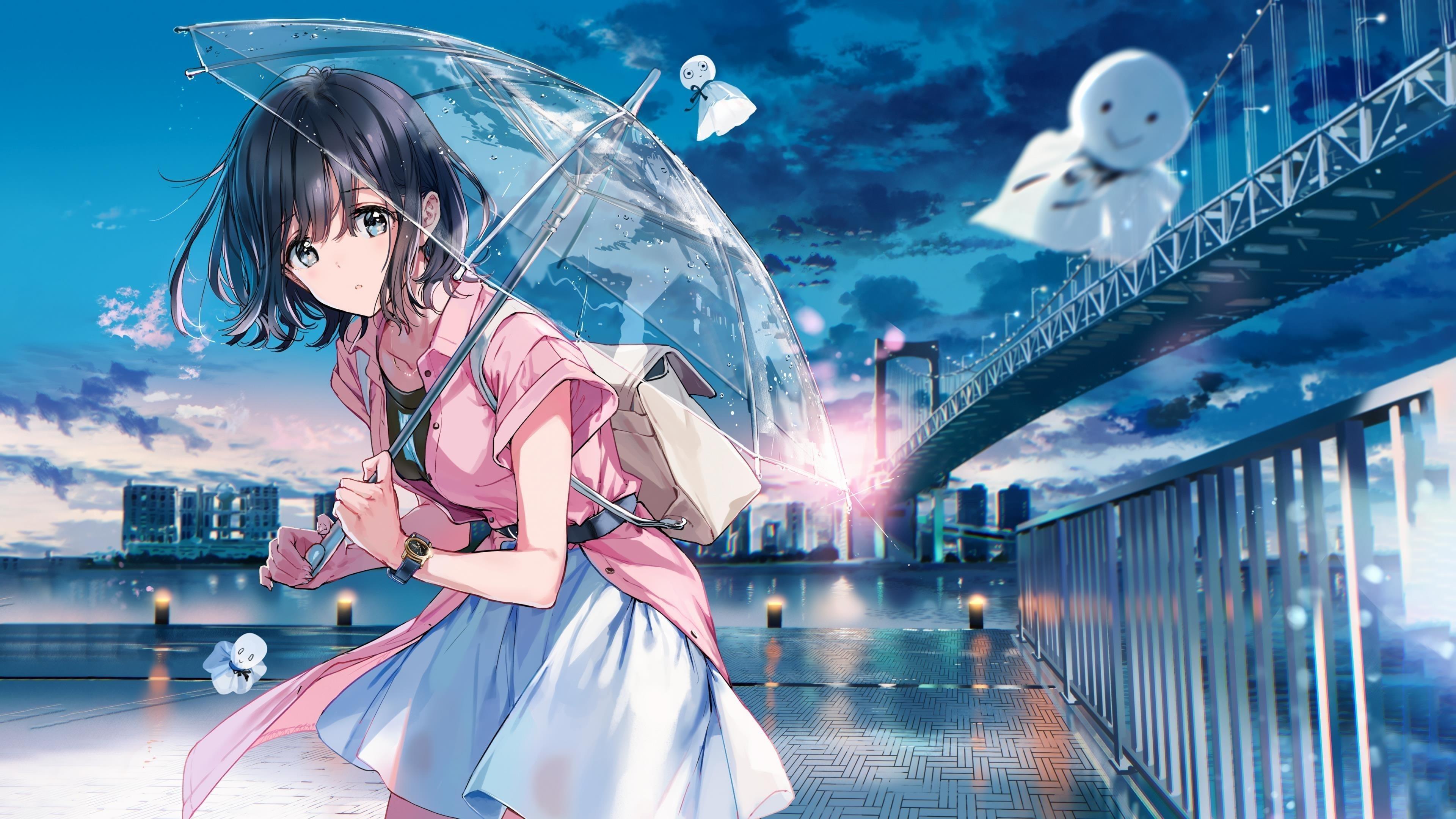 Девушка с зонтиком обои скачать